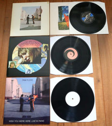 Pink Floyd- rare lot of 3x Wish You Were Here: Wish You Were Here (original French pressing 1975 with OIS!), Wish You Were Here (The Extraction Version) & Wish You Were Here Live In Paris (complete album recorded live!)