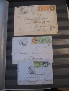 France - Collection of classic letters including charged stamps, September 1871 franking, and multi-coloured stamps.