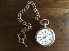 Belgica L.B & co – men's pocket watch with chain and winding key – approx. 1890/1900