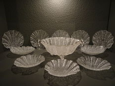 Silver mounted bowl for ice and twelve sundae glasses with scalloped edges