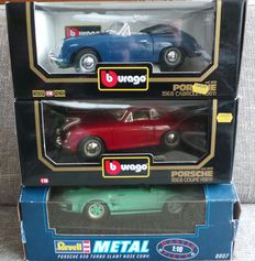 Revell/Bburago - Scale 1/18 - Lot with 3x Porsche: 930 Turbo Slant Nose Conv., 356 B Coupe & Cabriolet ( 1961 )