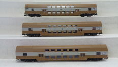 Kuehn N - 91020 - 3-piece set of double-decker carriages 1x DBmq 2x DBmue with control car of the DR