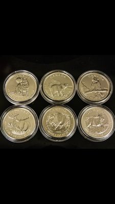 Canada - 6x5 CAD - complete wildlife set - 6x 1oz wolf - grizzly - puma - moose - bison - antelope