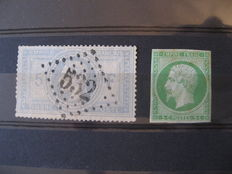 France 1854/1869 - Serrated Napoleon and non-serrated signed by Calves - Yvert no. 12 and 33