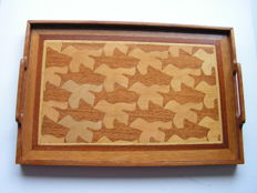 Vintage serving tray inlaid with various kinds of wood – pattern is inspired on a design by M.C.  Escher
