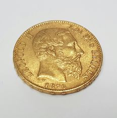 Gold investment coin: 20fr Leopold II
