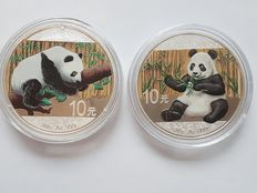 China - 2 x 10 Yuan - day design 2016 + 2017 - colour / colour edition - Edition only 5000 pieces