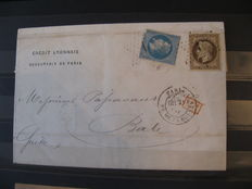 France - Collection of classic letters destined for Switzerland and gold cancellation on Napoléon.