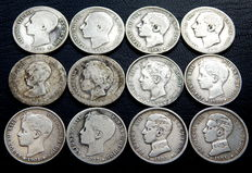 Spain – Alfonso XII and Alfonso XIII – 12 coins of 1 silver peseta – 1876 to 1904 – All different