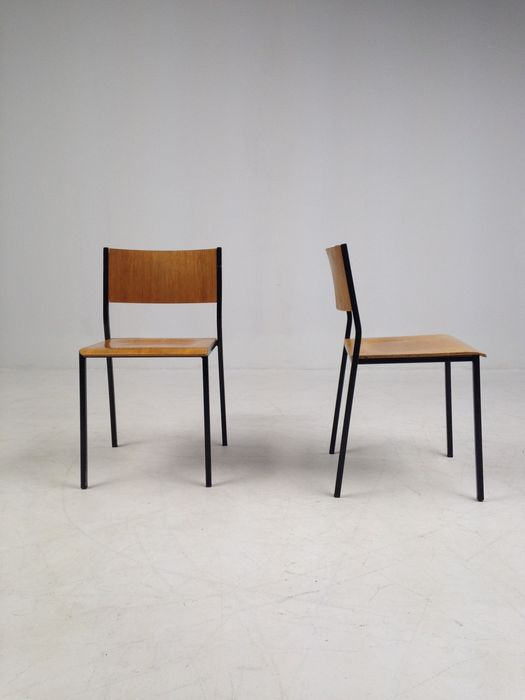 Beautiful Industrial Design, Set Of Six Stackable Old School Chairs