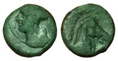 Roman Republic, Romano Campanian Coinage - AE Litra or Quartuncia, ca. 260 BC - Rome mint - Head Minerva / Horsehead - Cr. 17/1 a