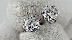 0.94 ct round diamond stud earrings 14 kt white gold *** no reserve price ***