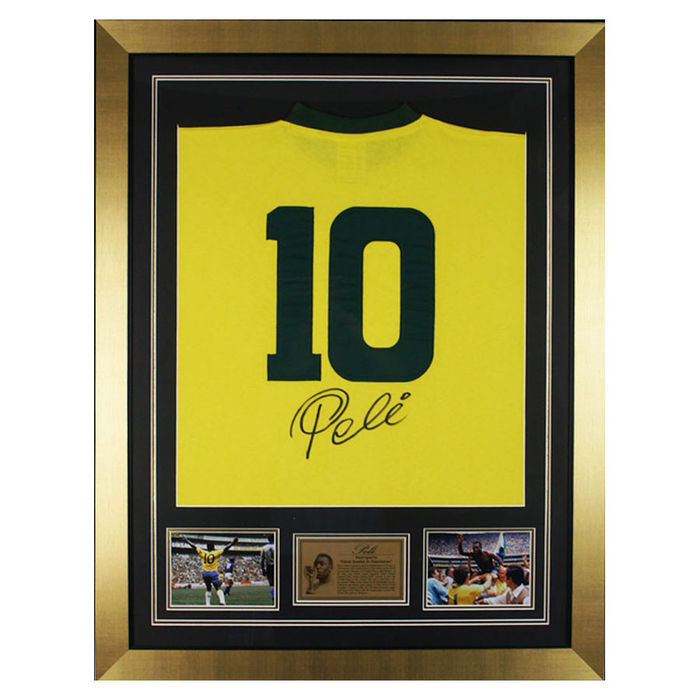 Pele signed Brazil No.10 back of shirt display