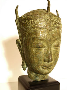 Ayutthaya crowned Buddha Head - Siam/Thailand - late 20th century