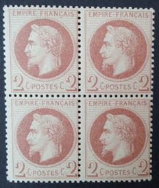 France 1862 – Napoleon III with laurel, 2 c. red-brown, block of 4, signed Calves with digital certificate – Yvert No. 26B