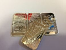 USA - 4 pieces 1 ounce 999 silver bar - Johnson Matthey - with serial number