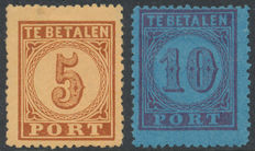 The Netherlands 1870 – Postage stamp, value in large number – NVPH P1 + P2a