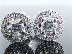 White gold ear studs set with 30 diamonds, 0.55 ct in total *** no reserve price ***