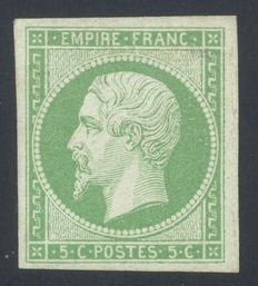 France 1854 - Napoleon III - 5c, yellow-green - signed A. Brun - Yvert no. 12a