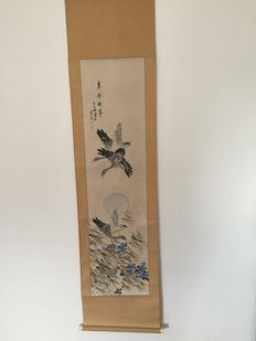 Scroll painting of two swans - Japan - early 20th century