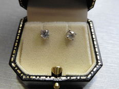 18k Gold Solitaire Diamond Earrings - 0.50ct  I-J, SI2