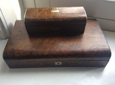 An old rosewood music box and a rosewood spoon box-Netherlands-early 20th century
