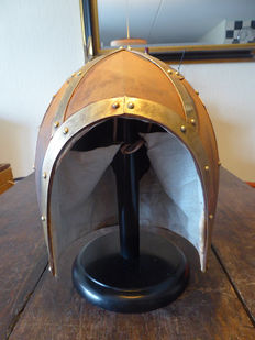 Hand-forged crusader's helmet - steel & copper