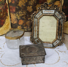 Photo frame, screen printed mirrors, tin box of 1913, crystal and brass box