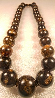 Baltic Amber dark black/ brown beads necklace , No reserve, 111 grams