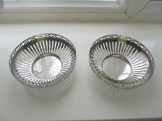 Old pair of candy bowls in English silver plate.