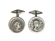 Silver cufflinks with genuine Roman coins (Roman denarii from the 3rd century A.D.)