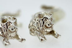Sterling Silver Lion Cufflinks, Made in London 1997