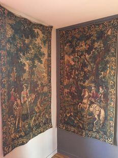 "Pair of tapestries: ""The Falcon hunt"", late 19th century"