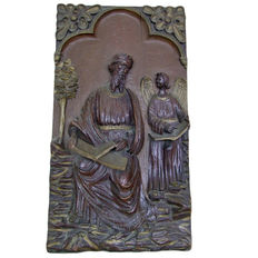 Antique oak wood panel of Saint Matthew and the Angel - 19th century
