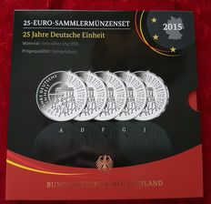 Germany - collector's coin set 2015 - 5 coins each one 25 Euro - silver