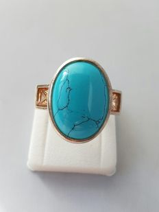 Silver ring with genuine turquoise and citrine - weight: 19 grams - size: 19.25 mm - never worn