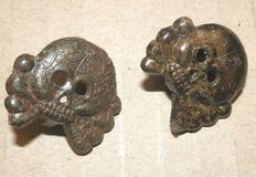 German WW2 steel panzer skulls for collar mirror 2 pieces
