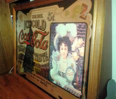 Vintage big advertising mirror - Coca Cola from USA - signed (C) a rarity - 1960/70