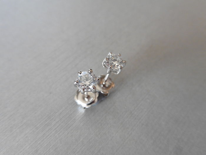 Platinum Solitaire Diamond Earrings – 1.00ct  J, Si1