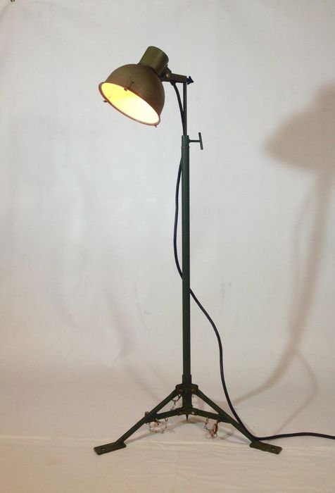 Designer Unknown Vintage Army Light On Tripod Industrial Floor Lamp