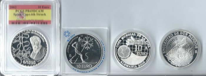 Spain – 10 euro 2002/2004 (4 different coins) – silver