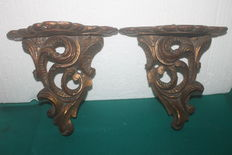 Pair Classical gilt corbel Type carved wood Wall shelf, end of 19th century