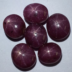 Lot of 6 Star Ruby - 32.80 ct