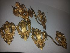 "Three pairs of decorative ""ormolu"" gilt mercury wall mounts, from a noble house - 18th century"