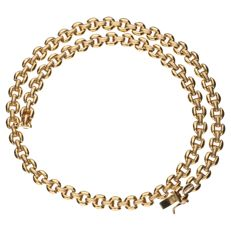 Yellow gold link necklace, 14 kt – 44 cm