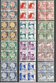 Netherlands 1930/1933 - Kind (Child) perforations - NVPH R86/R89, R90/R93 and 101 in blocks of 4