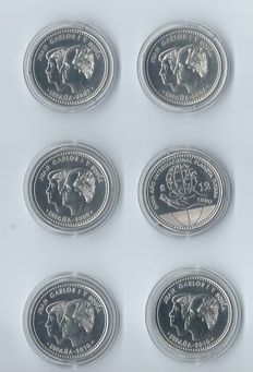 Spain - 12 and 20 Euros 2006/2010 (6 different coins) - silver