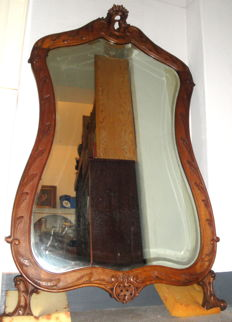 Large Walnut Wood Mirror -  (163 cm) - Louis XV style - France - ca. 1890