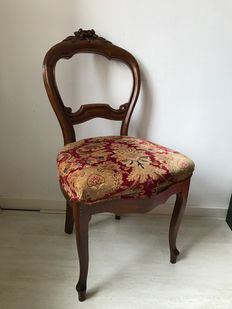 A Willem III mahogany balloon back chair with Ralph Lauren upholstery - The Netherlands - circa 1870