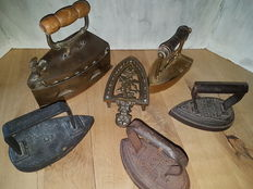 Five antique French and English irons, France and England, first half 20th century
